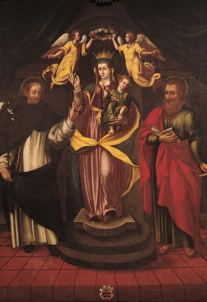 Pittore italiano, Madonna del Rosario con san Domenico e san Paolo, fine del XVI secolo