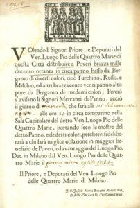 Invito ai mercanti di panno a presentare le migliori offerte per la fornitura complessiva di circa 1400 braccia di panno, 1732