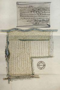 Pianta del campo detto del Molino nel podere di Trognano, 1719. Il terreno, con tutti i beni di Trognano, fu lasciato in eredità al luogo pio della Divinità da Giuseppe Prata.