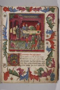 Pagina miniata degli statuti del Consorzio della Misericordia, secondo quarto del XV secolo