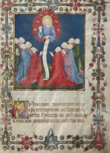 Pagina miniata dello statuto del Luogo pio della Divinità, 1429. La miniatura, rappresentante Dio Padre circondato da angeli, raffigura il sogno che ispirò il mercante Donato Ferrario a fondare il luogo pio.